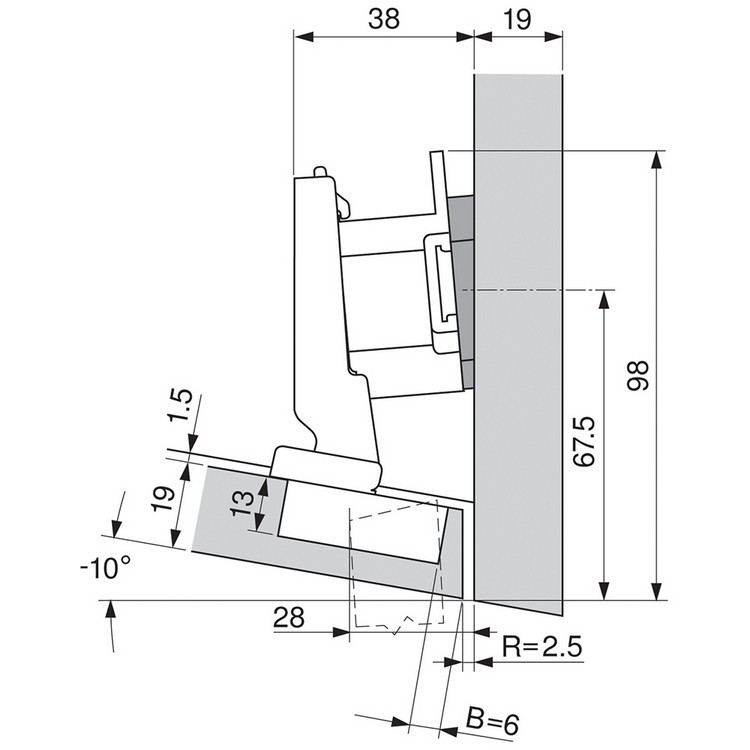 Blum 79A5493BT 110 Degree CLIP Top Hinge, Self-Close, -15 Degree Diagonal, Inserta :: Image 250