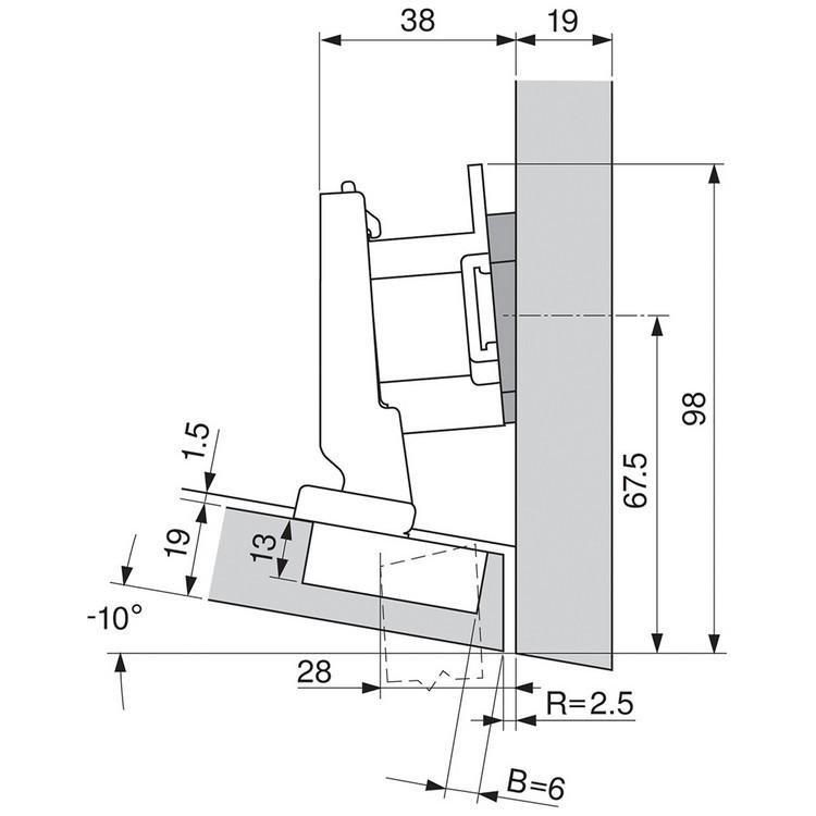 Blum 79A5493BT 110 Degree CLIP Top Hinge, Self-Close, -15 Degree Diagonal, Inserta :: Image 110