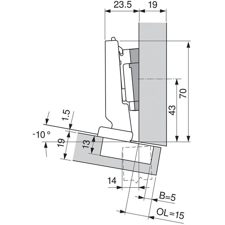 Blum 79A5493BT 110 Degree CLIP Top Hinge, Self-Close, -15 Degree Diagonal, Inserta :: Image 280