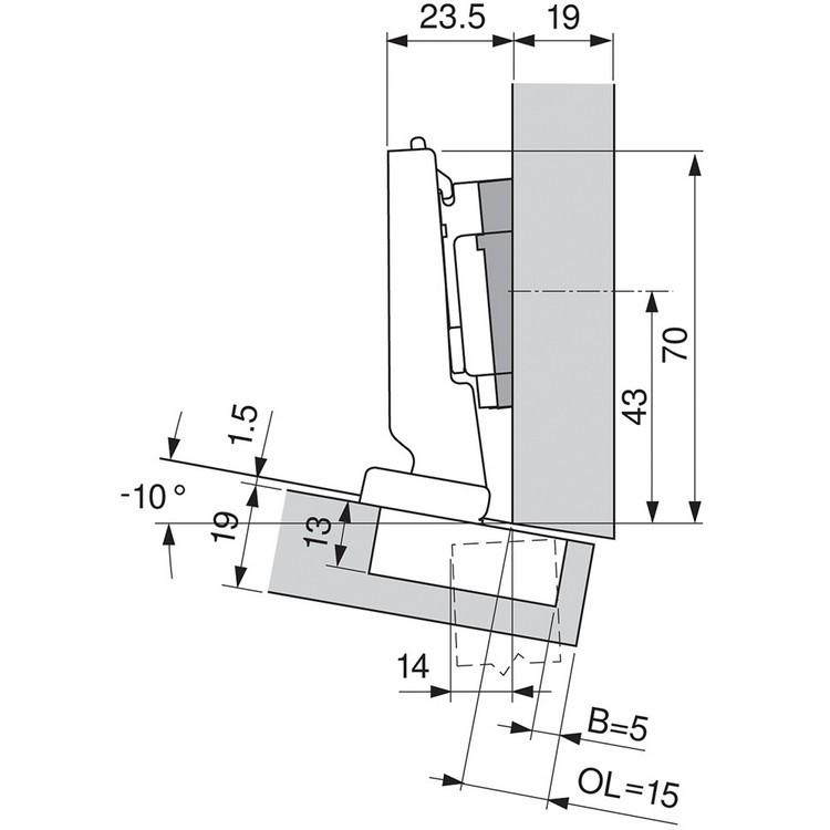 Blum 79A5493BT 110 Degree CLIP Top Hinge, Self-Close, -15 Degree Diagonal, Inserta :: Image 140