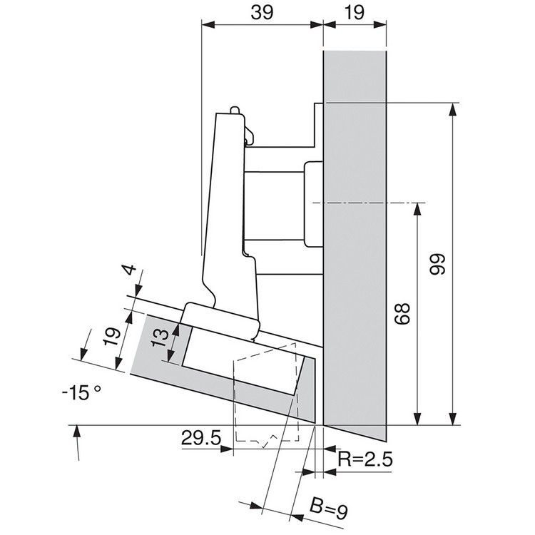 Blum 79A5493BT 110 Degree CLIP Top Hinge, Self-Close, -15 Degree Diagonal, Inserta :: Image 240