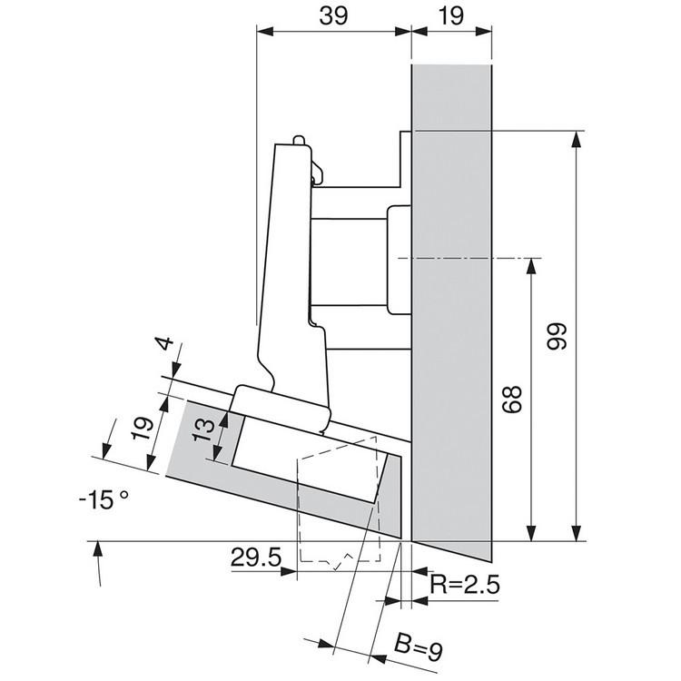 Blum 79A5493BT 110 Degree CLIP Top Hinge, Self-Close, -15 Degree Diagonal, Inserta :: Image 100