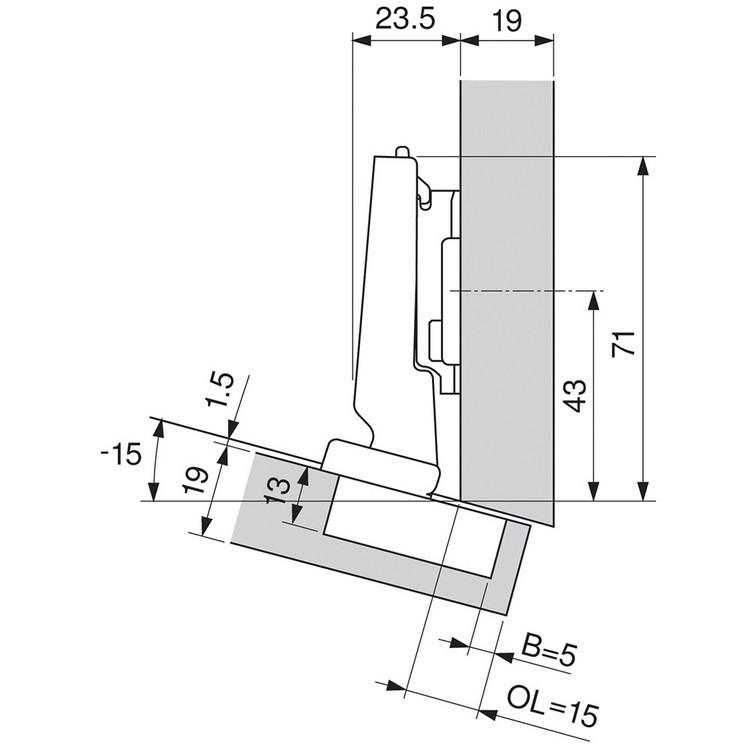 Blum 79A5493BT 110 Degree CLIP Top Hinge, Self-Close, -15 Degree Diagonal, Inserta :: Image 130