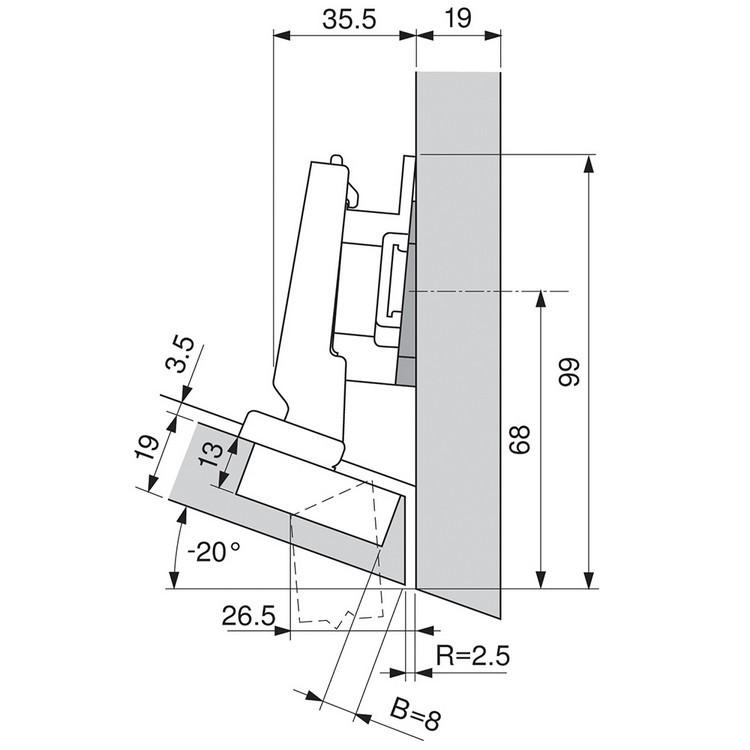 Blum 79A5493BT 110 Degree CLIP Top Hinge, Self-Close, -15 Degree Diagonal, Inserta :: Image 230