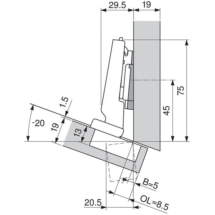 Blum 79A5493BT 110 Degree CLIP Top Hinge, Self-Close, -15 Degree Diagonal, Inserta :: Image 120