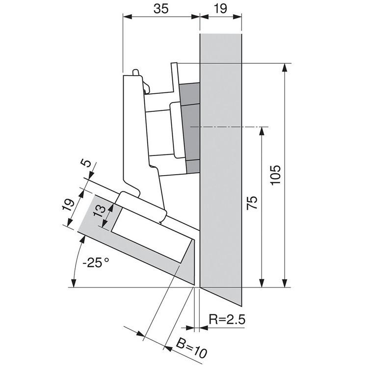 Blum 79A5491BT 110 Degree CLIP Top Hinge, Self-Close, -30 Degree Diagonal, Inserta :: Image 170