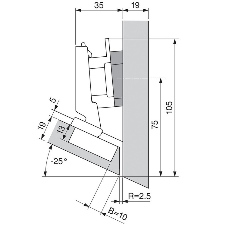 Blum 79B3491 110 Degree CLIP Top BLUMOTION Hinge, Self-Close, -30 Degree Diagonal, Inserta :: Image 100