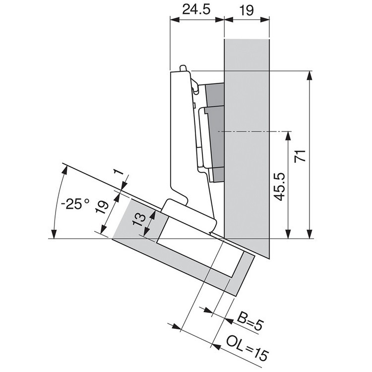 Blum 79A5491BT 110 Degree CLIP Top Hinge, Self-Close, -30 Degree Diagonal, Inserta :: Image 200