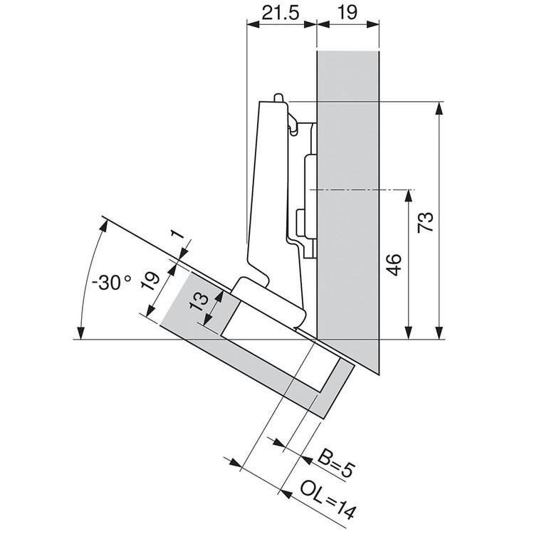 Blum 79A5491BT 110 Degree CLIP Top Hinge, Self-Close, -30 Degree Diagonal, Inserta :: Image 190