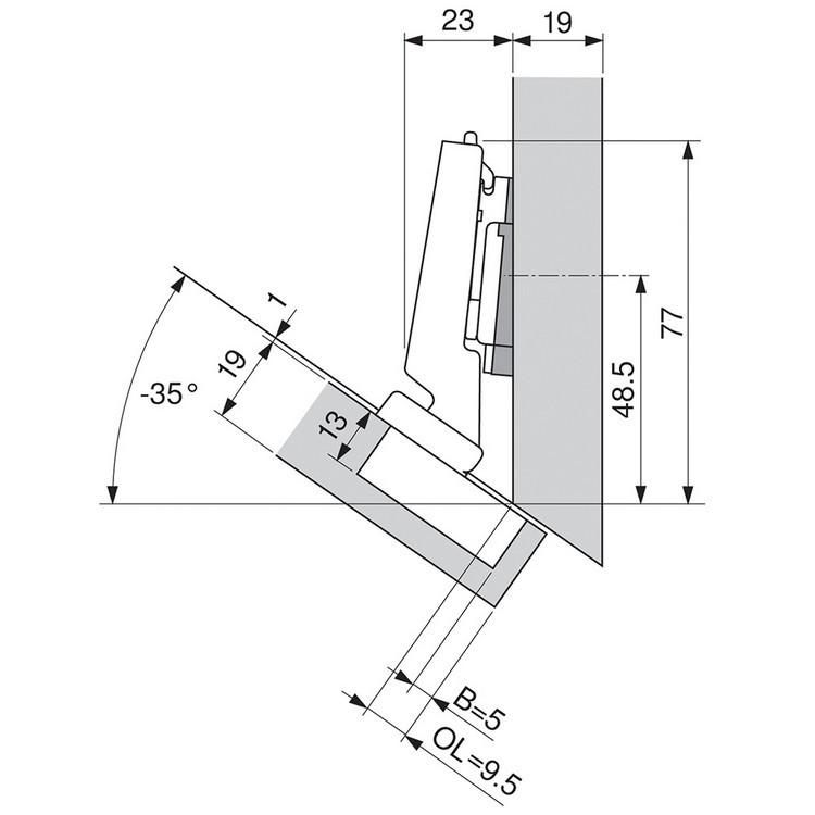 Blum 79A5491BT 110 Degree CLIP Top Hinge, Self-Close, -30 Degree Diagonal, Inserta :: Image 180