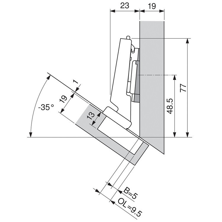 Blum 79B3491 110 Degree CLIP Top BLUMOTION Hinge, Self-Close, -30 Degree Diagonal, Inserta :: Image 90