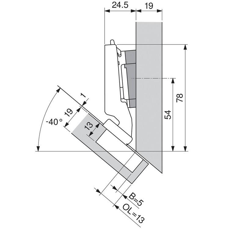 Blum 79A5490BT 110 Degree CLIP Top Hinge, Self-Close, -45 Degree Diagonal, Inserta :: Image 160