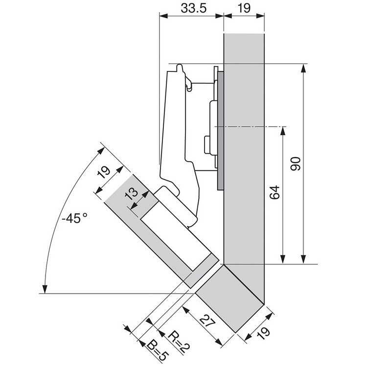 Blum 79B3490 110 Degree CLIP Top BLUMOTION Hinge, Self-Close, -45 Degree Diagonal, Inserta :: Image 40