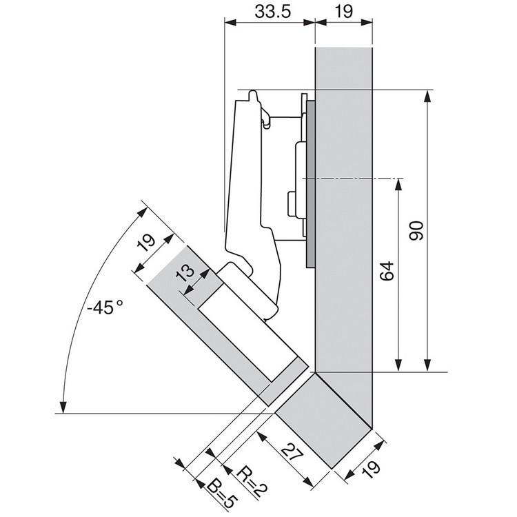 Blum 79A5490BT 110 Degree CLIP Top Hinge, Self-Close, -45 Degree Diagonal, Inserta :: Image 140