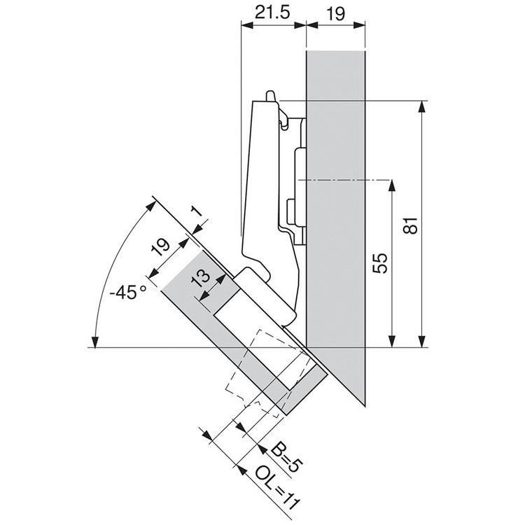 Blum 79A5490BT 110 Degree CLIP Top Hinge, Self-Close, -45 Degree Diagonal, Inserta :: Image 150