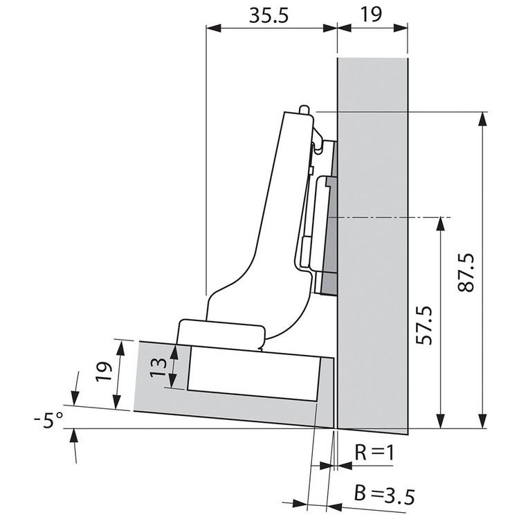 Blum 71T9690B 95 Degree CLIP Top Hinge, Self-Close, Half Overlay, Inserta :: Image 290