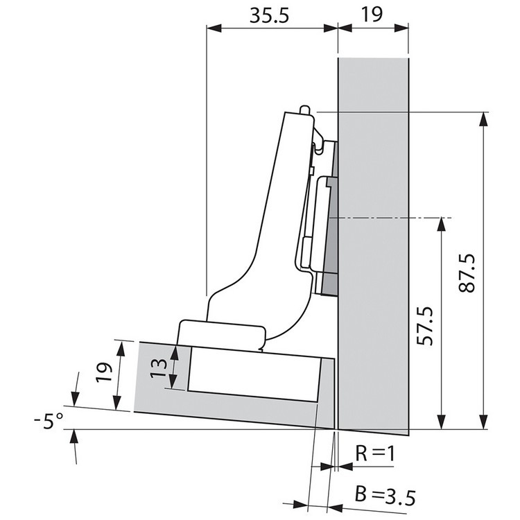 Blum 71T9690B 95 Degree CLIP Top Hinge, Self-Close, Half Overlay, Inserta :: Image 110