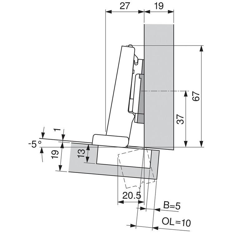 Blum 71T9590B 95 Degree CLIP Top Hinge, Self-Close, Full Overlay, Inserta :: Image 110