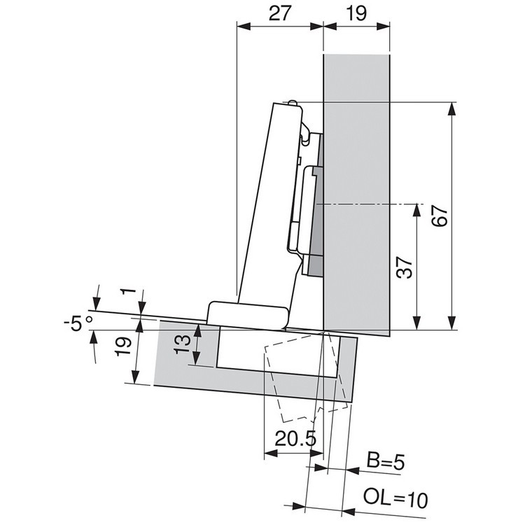 Blum 71B9590 95 Degree CLIP Top BLUMOTION Hinge, Self-Close, Full Overlay, Inserta :: Image 100