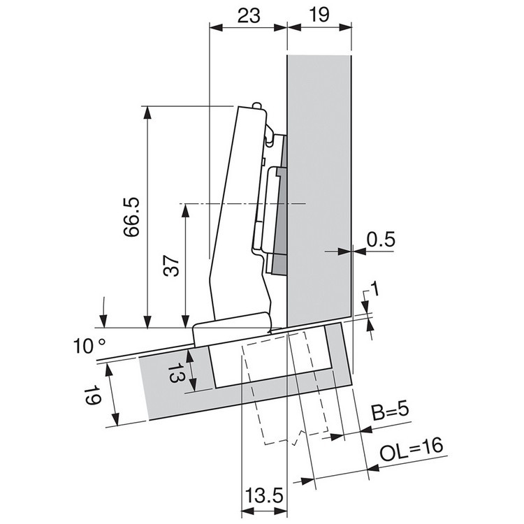 Blum 79A9494BT 95 Degree CLIP Top Hinge, Self-Close, +15 Degree Diagonal, Inserta :: Image 260