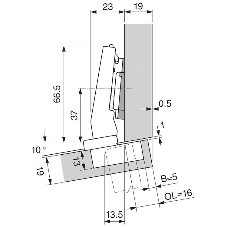 Blum 79A9494BT 95 Degree CLIP Top Hinge, Self-Close, +15 Degree Diagonal, Inserta :: Image 110