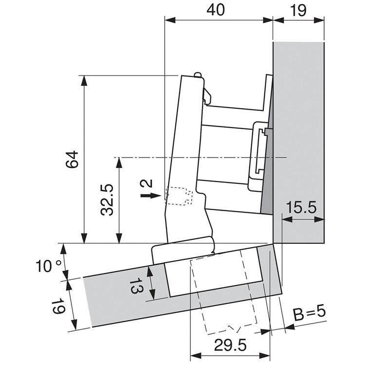 Blum 79A9494BT 95 Degree CLIP Top Hinge, Self-Close, +15 Degree Diagonal, Inserta :: Image 100