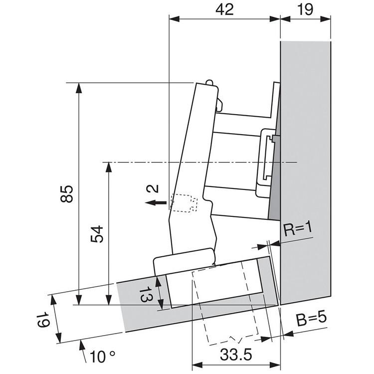 Blum 79A9494BT 95 Degree CLIP Top Hinge, Self-Close, +15 Degree Diagonal, Inserta :: Image 240
