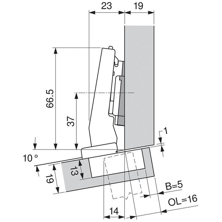 Blum 79A9494BT 95 Degree CLIP Top Hinge, Self-Close, +15 Degree Diagonal, Inserta :: Image 290