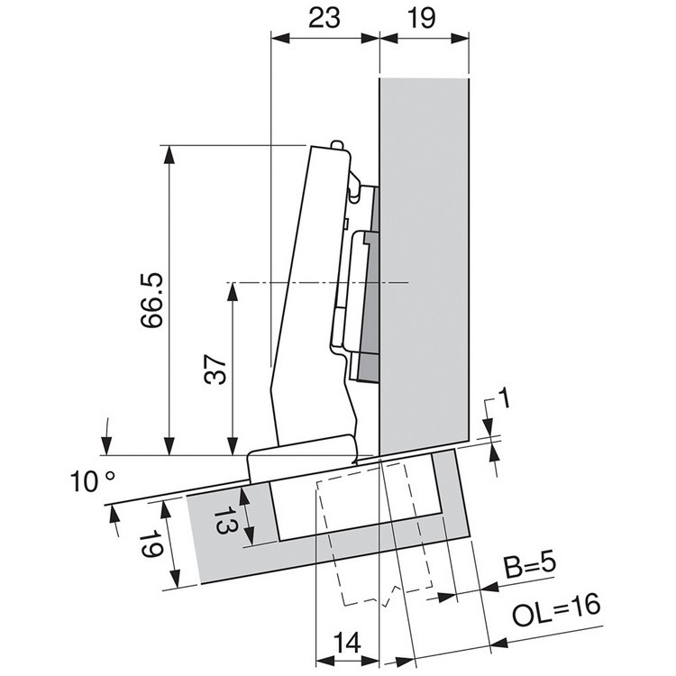 Blum 79A9494BT 95 Degree CLIP Top Hinge, Self-Close, +15 Degree Diagonal, Inserta :: Image 140