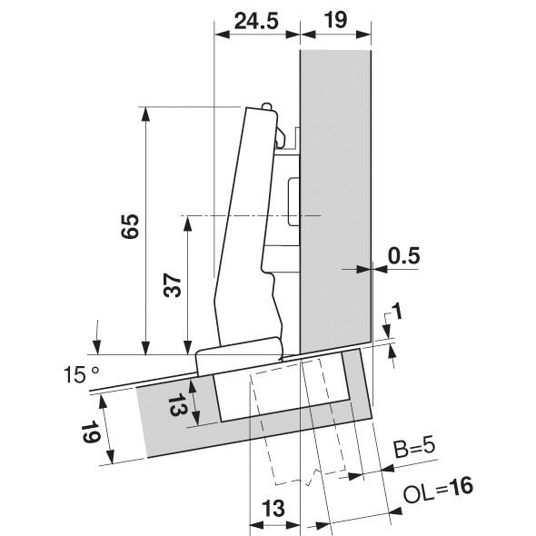 Blum 79A9494BT 95 Degree CLIP Top Hinge, Self-Close, +15 Degree Diagonal, Inserta :: Image 150