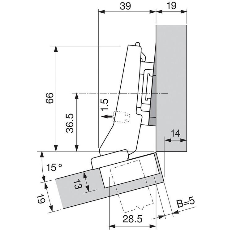 Blum 79A9595BT 95 Degree CLIP Top Hinge, Self-Close, +20 Degree III Diagonal, Inserta :: Image 60