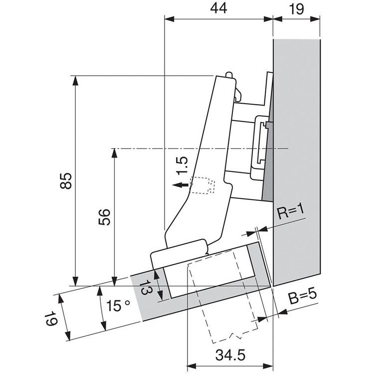 Blum 79A9595BT 95 Degree CLIP Top Hinge, Self-Close, +20 Degree III Diagonal, Inserta :: Image 120