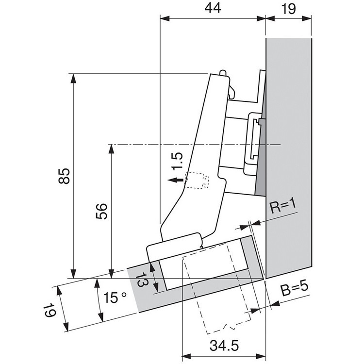 Blum 79A9595BT 95 Degree CLIP Top Hinge, Self-Close, +20 Degree III Diagonal, Inserta :: Image 40