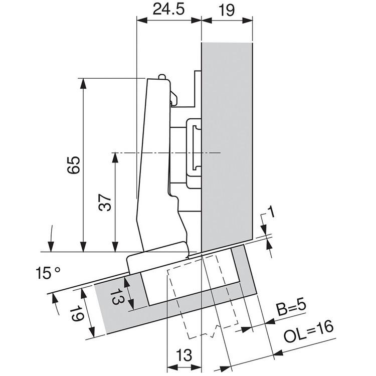 Blum 79A9494BT 95 Degree CLIP Top Hinge, Self-Close, +15 Degree Diagonal, Inserta :: Image 130