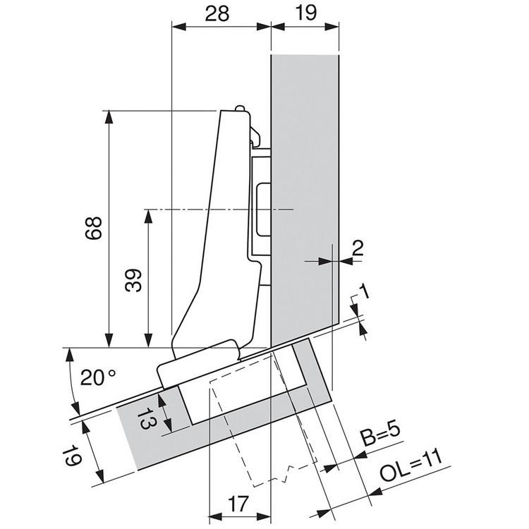 Blum 79A9595BT 95 Degree CLIP Top Hinge, Self-Close, +20 Degree III Diagonal, Inserta :: Image 160