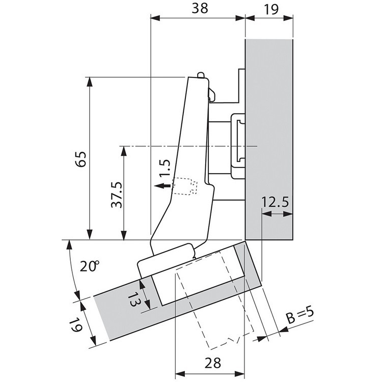 Blum 79A9595BT 95 Degree CLIP Top Hinge, Self-Close, +20 Degree III Diagonal, Inserta :: Image 130