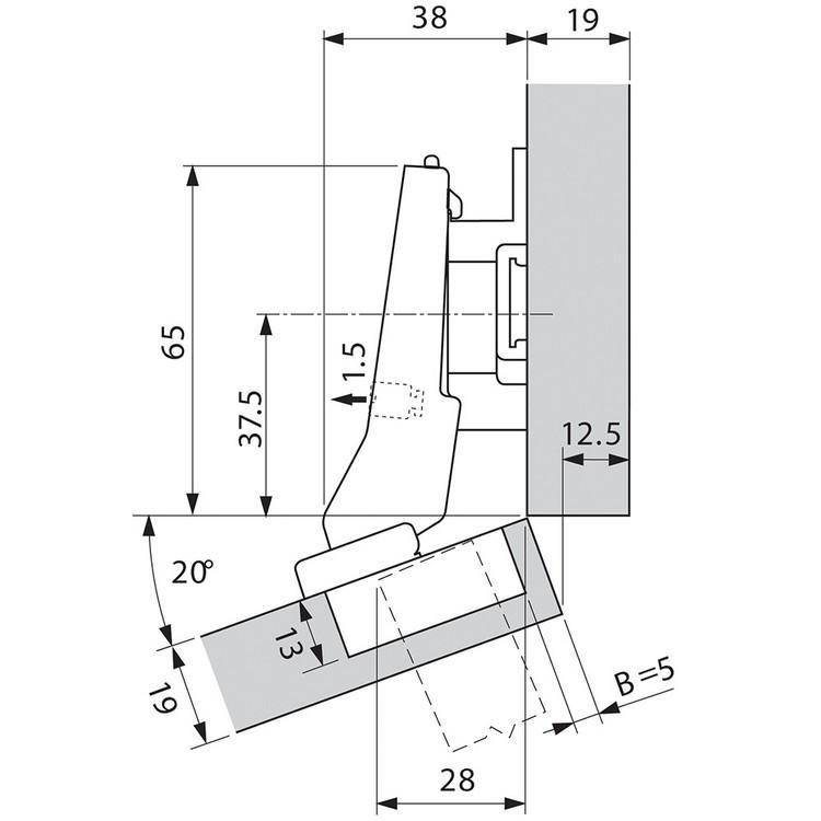 Blum 79A9595BT 95 Degree CLIP Top Hinge, Self-Close, +20 Degree III Diagonal, Inserta :: Image 50