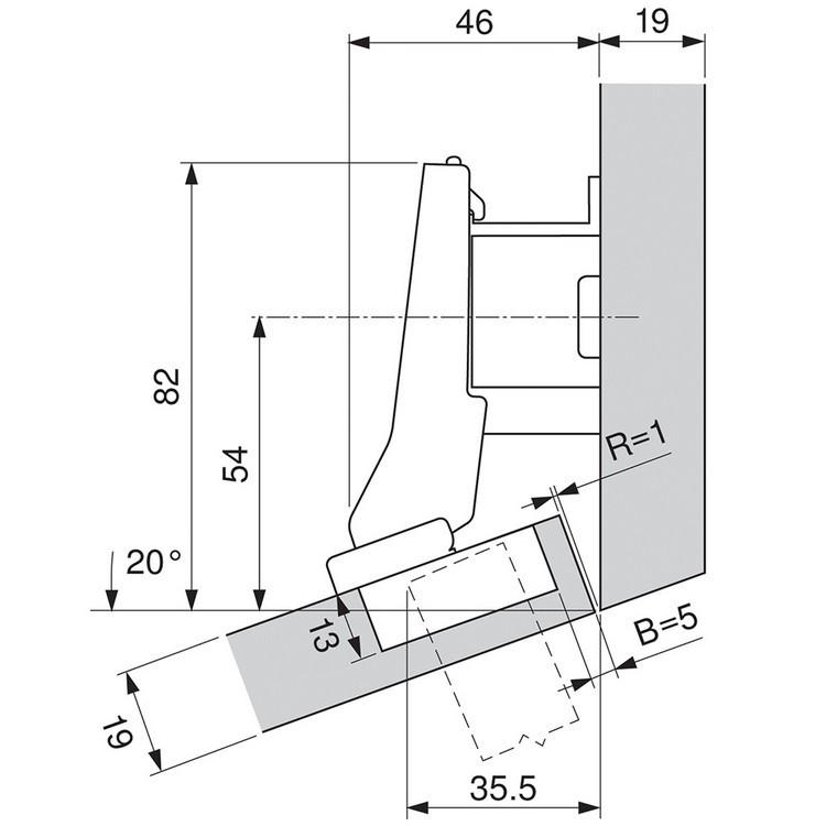 Blum 79A9595BT 95 Degree CLIP Top Hinge, Self-Close, +20 Degree III Diagonal, Inserta :: Image 110