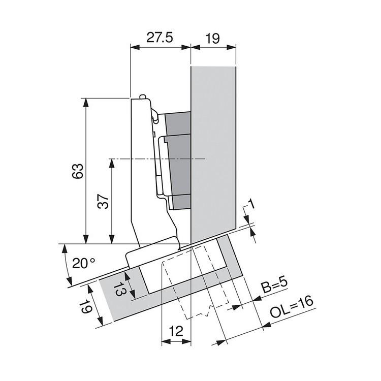 Blum 79A9494BT 95 Degree CLIP Top Hinge, Self-Close, +15 Degree Diagonal, Inserta :: Image 120