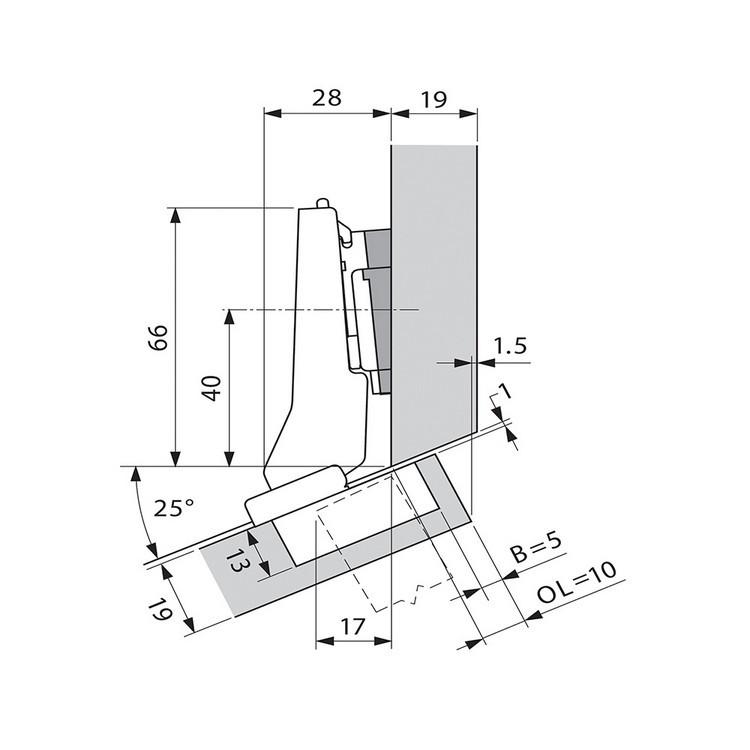 Blum 79A9595BT 95 Degree CLIP Top Hinge, Self-Close, +20 Degree III Diagonal, Inserta :: Image 150