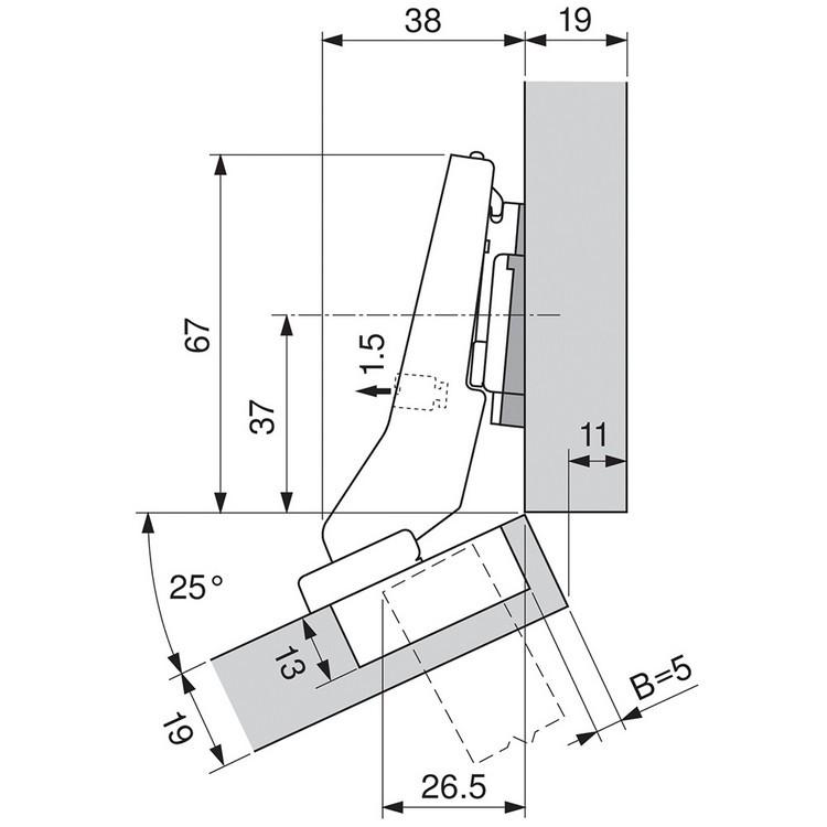 Blum 79B9596 95 Degree CLIP Top BLUMOTION Hinge, Self-Close, +30 Diagonal, Inserta :: Image 200