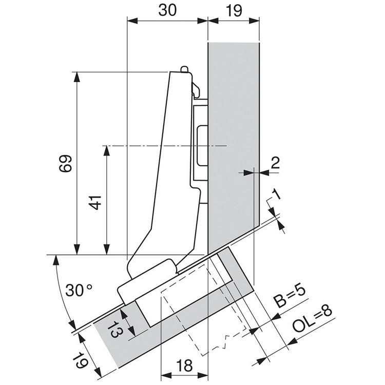 Blum 79B9596 95 Degree CLIP Top BLUMOTION Hinge, Self-Close, +30 Diagonal, Inserta :: Image 220