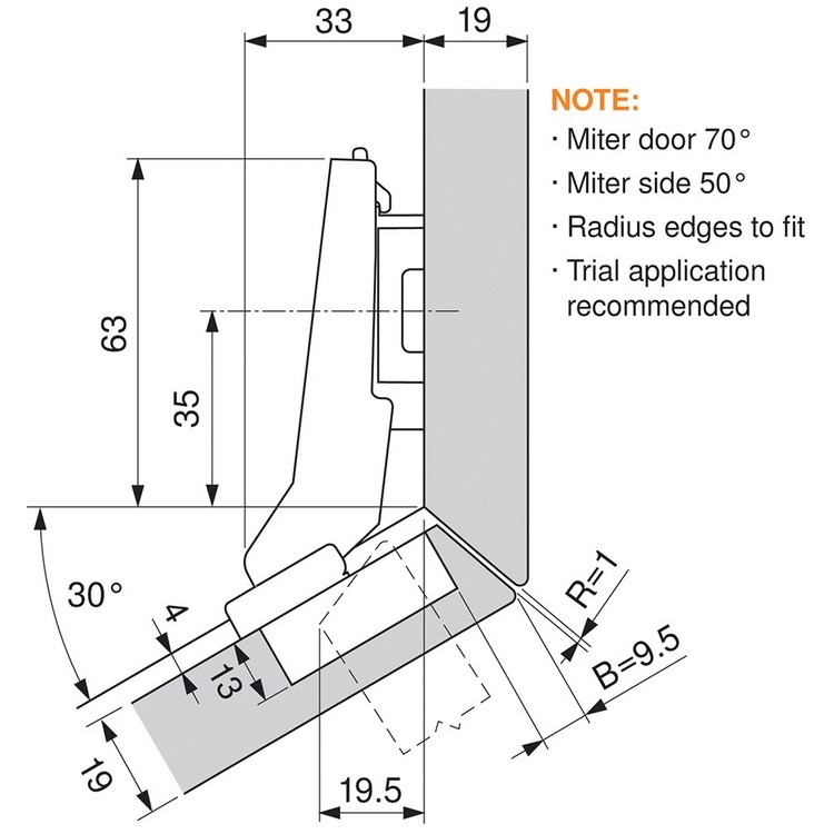 Blum 79A9596BT 95 Degree CLIP Top Hinge, Self-Close, +30 Degree II Diagonal, Inserta :: Image 140