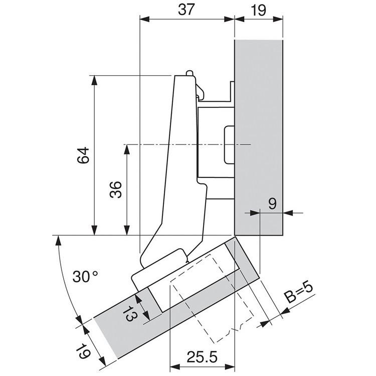 Blum 79B9596 95 Degree CLIP Top BLUMOTION Hinge, Self-Close, +30 Diagonal, Inserta :: Image 190