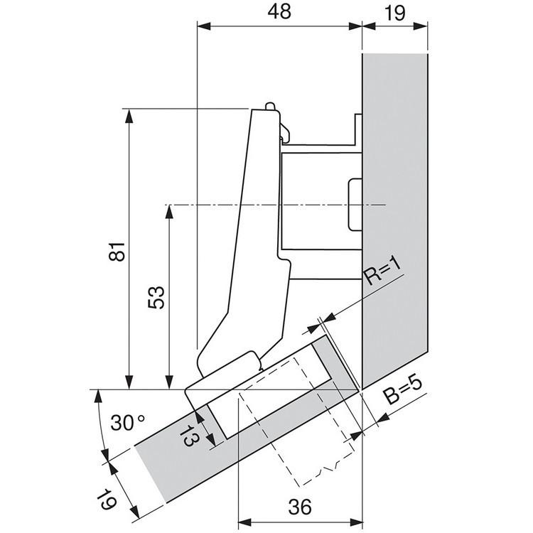 Blum 79B9596 95 Degree CLIP Top BLUMOTION Hinge, Self-Close, +30 Diagonal, Inserta :: Image 160