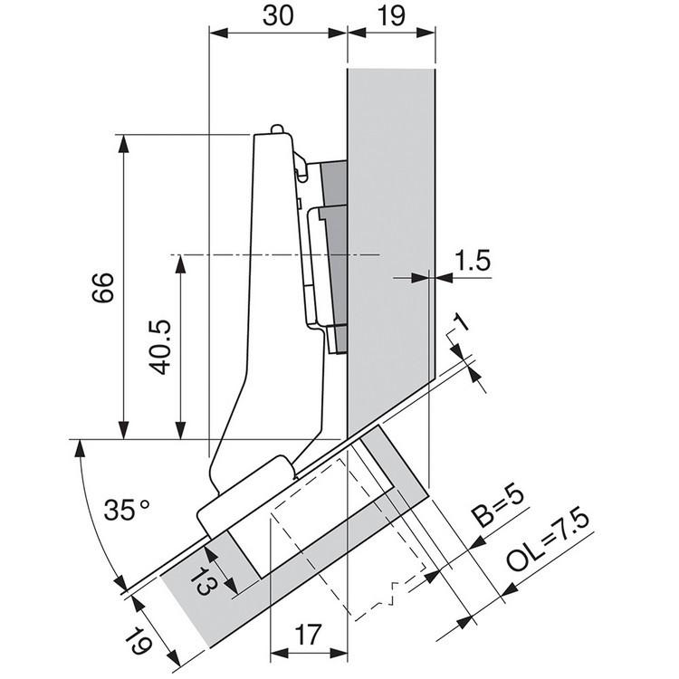 Blum 79B9596 95 Degree CLIP Top BLUMOTION Hinge, Self-Close, +30 Diagonal, Inserta :: Image 100