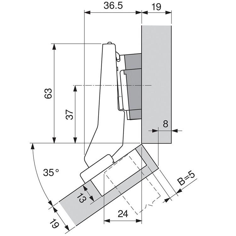 Blum 79B9596 95 Degree CLIP Top BLUMOTION Hinge, Self-Close, +30 Diagonal, Inserta :: Image 180