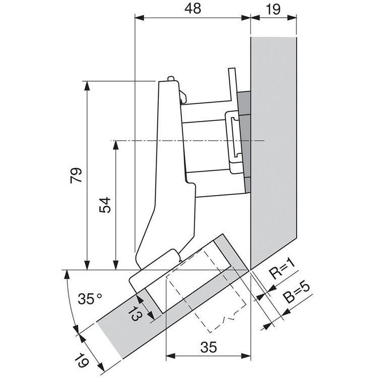 Blum 79B9596 95 Degree CLIP Top BLUMOTION Hinge, Self-Close, +30 Diagonal, Inserta :: Image 150