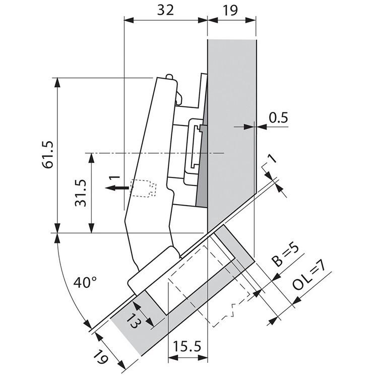 Blum 79A9498BT 95 Degree CLIP Top Hinge, Self-Close, +45 Degree III Diagonal, Inserta :: Image 70