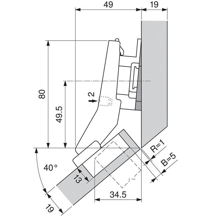 Blum 79B9698 95 Degree CLIP Top BLUMOTION Hinge, Soft-Close, +45 Diagonal, Inserta :: Image 60